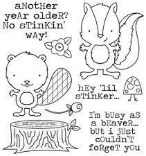 SKUNK BEAVER Little Stinker CLING Unmounted Rubber Stamp Set Darcies JCS194 NEW