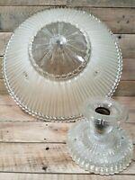 ANTIQUE ART DECO VICTORIAN Glass CEILING FIXTURE No Chains