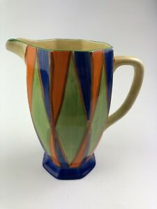 Clarice Cliff Original Bizarre Athens Jug. Blue, Orange & Green Geometric. Ci...