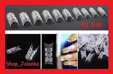 40 Stück Clear 3D FRENCH Design TIPS GLAZE MOSAIK +BOX