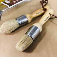 US Art Supply 2-Piece Round Chalk, Wax and Stencil Brushes for Wood Furniture