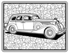 Coloring Page - Retro Car # 6 (Hi-Res JPG file will be sent by email)