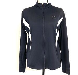 Under Armour Navy w/White Trim Full Zip Jacket, Size Medium