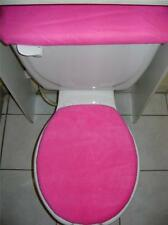 SOLID PINK  Fleece Fabric Elongated  Toilet Seat Cover Set