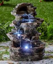 stacked stone look led lighted water fountain zen garden yard decor - Garden Water Fountains