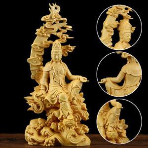 Chinese Boxwood Carving Kwan-yin Guanyin Buddha Statue Sculpture Craft Wood Gift