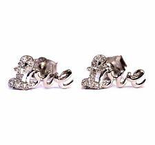 925 Sterling silver Love studs .10ct SI2 H diamond earrings 1g estate vintage
