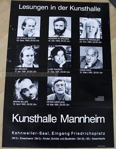 GERMAN  POSTER 1990 - LESUNGEN IN DER KUNSTHALLE modick broder kronauer rinser