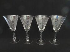Fostoria 3 + 1 Water Goblets Mayflower Etch 6020 Stem, Pretty Floral Design