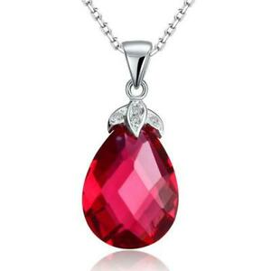 Pear Cut Pink Tourmaline Birthday Wear Tear Drop Pendant 14K White Gold Finish