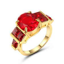 Red Ruby Garnet Big Stone Wedding Ring 18k Black Gold Filled Jewelry Size 8
