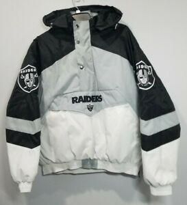 Oakland Raiders Black Puffer Jacket Vintage Style Bomber NFL Apparel Men's Small