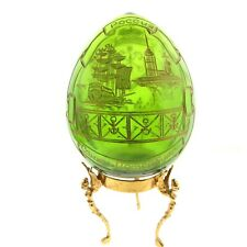 Russian Crystal Faberge Egg Green Glass Gilt Bronze Angel Stand