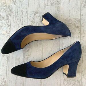 Ivanka Trump Blue Black Suede Pump Heel 9m Work Formal Block Heel Leather