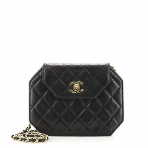 Chanel Vintage Octagon CC Flap Bag Quilted Leather Small