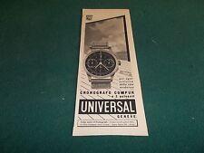 pubblicità  ADVERT 1940 OROLOGIO UNIVERSAL CRONOGRAFO COMPUR 2 PULSANTI GENEVE
