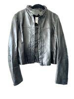 Women's Ladies Black Leather Jacket Sz S 40/ 4 Costume National Motorcycle Biker