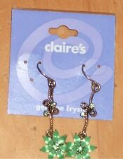 Claire's Genuine Crystal Green Flower Dangle Earrings, New With Card