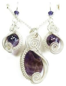 Amethyst & Swarovski Crystal Wire-Wrapped Earring/Necklace Set - Sterling Silver