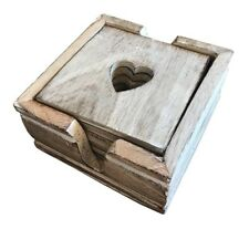 Vintage Shabby Chic 6 x Wooden Heart Coasters Coffee Desk Table Drinks Cup Mat