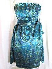 ABS Essential Dress Cobalt Blue Strapless Floral Paisley Lined Size 8  NWT $328