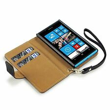 For Nokia Lumia 720 Premium Quality Pu Leather Wallet Case Cover - Black / Tan