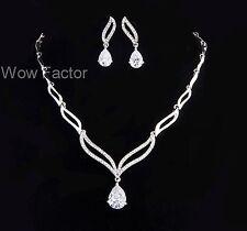 Rhinestone CZ Crystal Diamante Silver Tone Wedding Bridal Costume Jewellery Set