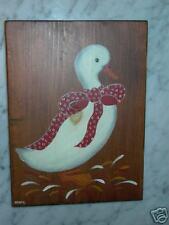 Duck Portrait Painting on Wood Signed Taoru