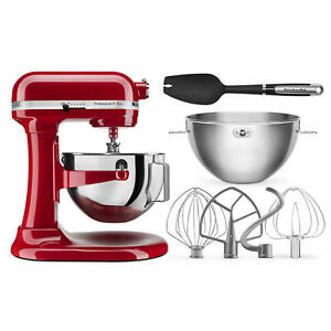 KitchenAid Professional Plus 5 Quart Bowl-Lift Stand Mixer w/Bundle RED KP25M0X
