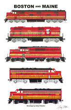 """Boston & Maine Red and Gold Locomotives 11""""x17"""" RR Poster Andy Fletcher signed"""