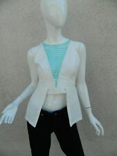 Finders Keepers Blouse Peplum Shirt Cream White Lattice Blue Turquoise Small