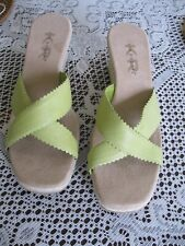 0d0410495f LADIES KIM ROGERS LIME GREEN LEATHER JUTE WEDGE NWOT SANDALS SIZE 10M (3