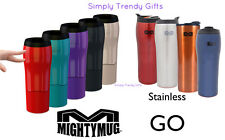Mighty Mug GO SOLO Black Red Green Stainless Coffee Mug Won't Fall Over WOW!