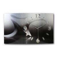 Black& Silver Designer Wanduhr Funkuhr leise modernes Design ** Kreative Feder *