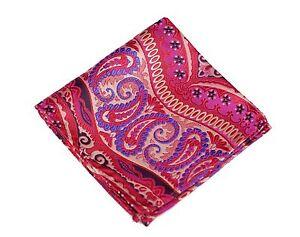 Lord R Colton Masterworks Pocket Square - Galapagos Magenta Blue Silk - $75 New