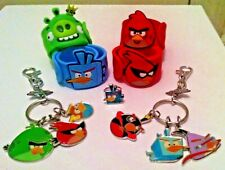ANGRY BIRDS SLAP BAND BRACELET Set of 4 & 2 Collectible Key chains NEW