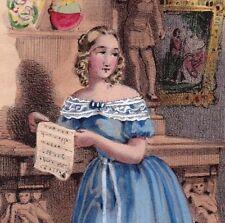 Gravure Romantique 1843 Jeune Fille Anglaise Young Lady Londres London