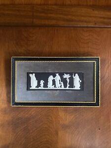 Vintage Wedgwood Black Jasperware Maternal Affection Framed Plaque