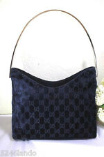 Vintage GUCCI GG Monogram Thick Velvet Lavander Metal Handle Hobo Bag Italy
