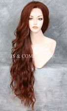 "HEAT SAFE Auburn Red Mix Wavy EXTRA long 32"" Lace Front Wig JSTA 33-130"
