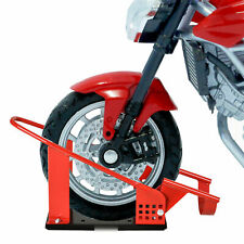 Motorcycle Wheel Chock Stand Heavy Metal Holder Truck Trailer Garage