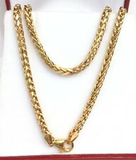 "18k Solid Yellow Gold Unisex Wheat Chain/Necklace Dimond Cut. 24"". 8.10Grams"