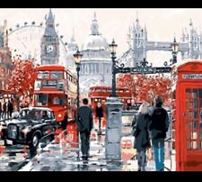 DIY Canvas oil Painting Paint By Numbers London Street Kit Include Colours+brush