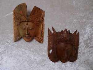 2 x Holz Wandmaske - Asien - Thailand ? Bali ? - Handgefertigt / Schnitzerei