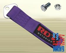 JDM Purple Lumina Bolt-On Nylon Towing Belt Strap Bumper Tow Hook Adapter