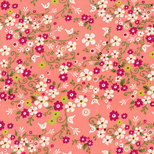 Cotton Print Fabric FQ - Daisy Ditsy Flower Bird on Pink Retro Quilting Craft A9
