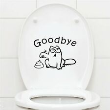 Cute Black Cat Say Goodbye Vinyl Toilet Wall Sticker Decal Bathroom Home Decor