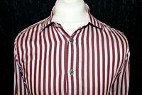 TED BAKER London Archive Mens Burgundy & Pink Striped Double Cuff Size 15 BN