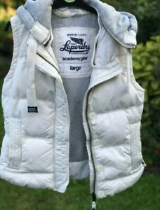 womens SUPERDRY Hooded body warmer GILET size LARGE white Padded Down / Feather