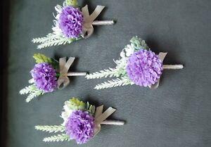 4 Purple Groom wedding Boutonnier